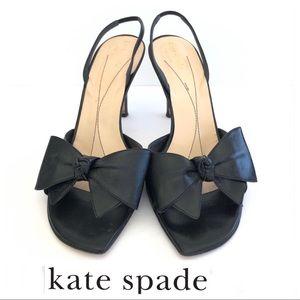 KATE SPADE Satin Black Bow Slingback Heels Sz 9.5